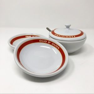 Pottery Barn Parmigiano Cheese Bowl 2 Plates/Bowls